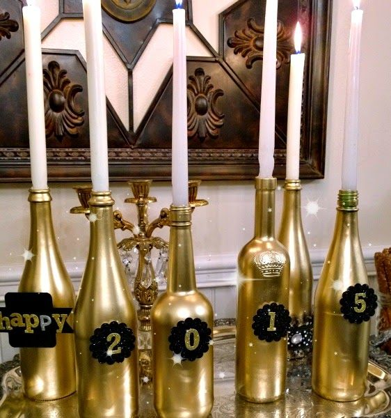 New Years decorating ideas, New Year's wine bottle candles ...