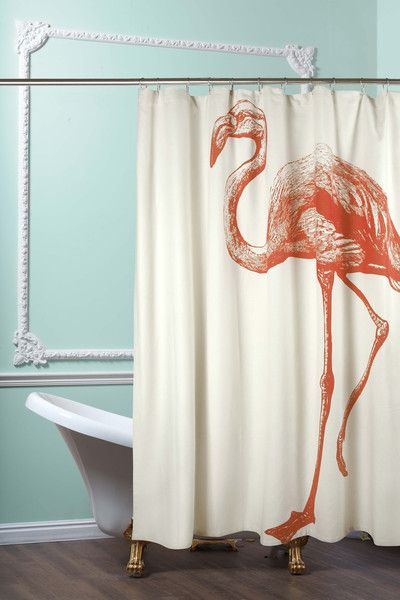 Flamingo Shower Curtain In Coral Design By Thomas Paul With