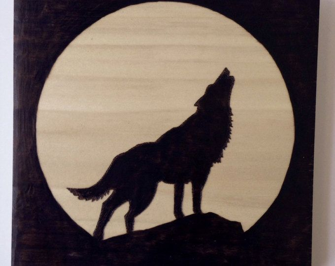 wolf silhouette wood sign wood burned sign pyrography art howling wolf - Wood Burning Picture Frame