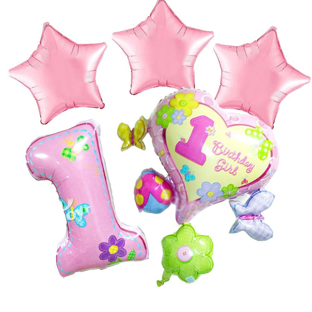 1st Birthday Party Pink Supplies Girl Heart Star First Foil Balloon