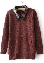Red Plaid Lapel Long Sleeve Zipper Sweater $34.84 #SheInside #cute #fashion #style #hipster #vintage #repin