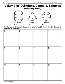 Volume Of Cylinders Cones Spheres Pi Puzzle Teaching Math