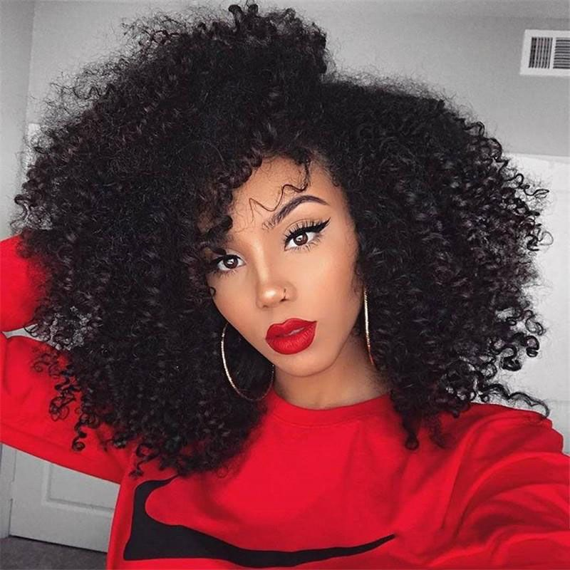 22''Long Afro Kinky Curly Wigs For Black Women Synthetic Lack Front ...