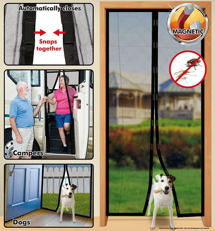 Magic Mesh Black Hands Free Magnetic Screen Door Mesh Curtain Keeps Bugs Out NEW