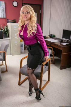 cc838c307 Tight Black Pencil Skirt Purple Blouse Textured Black Pantyhose and Black High  Heels