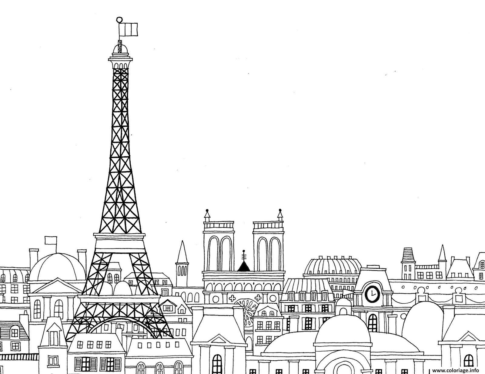 Coloriage Paris Ville De France Paysage Dessin A Imprimer Paris