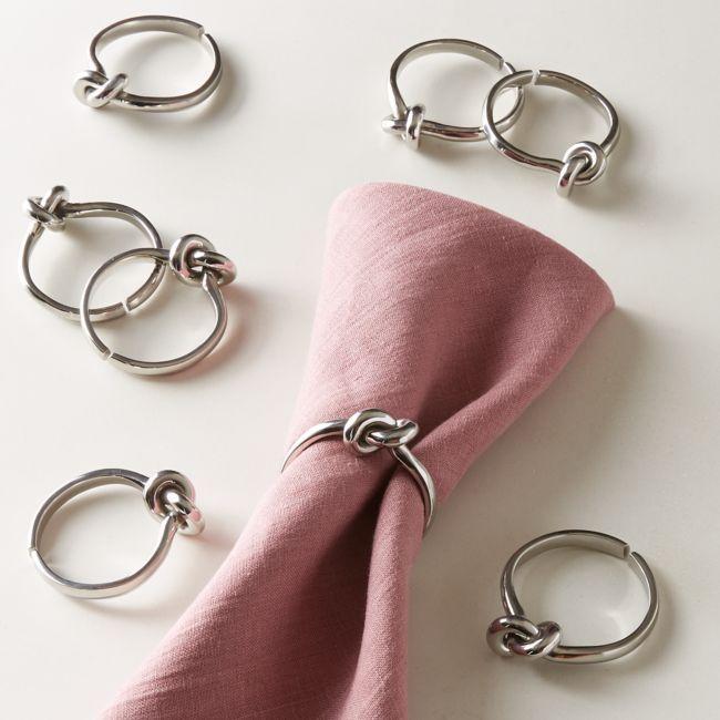 Infinity Silver Napkin Rings Set of 8 | CB2