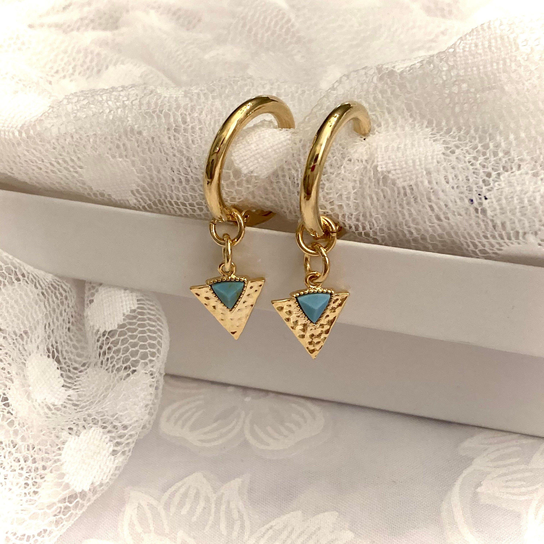 Gold Howlite Gemstone hoop Earrings