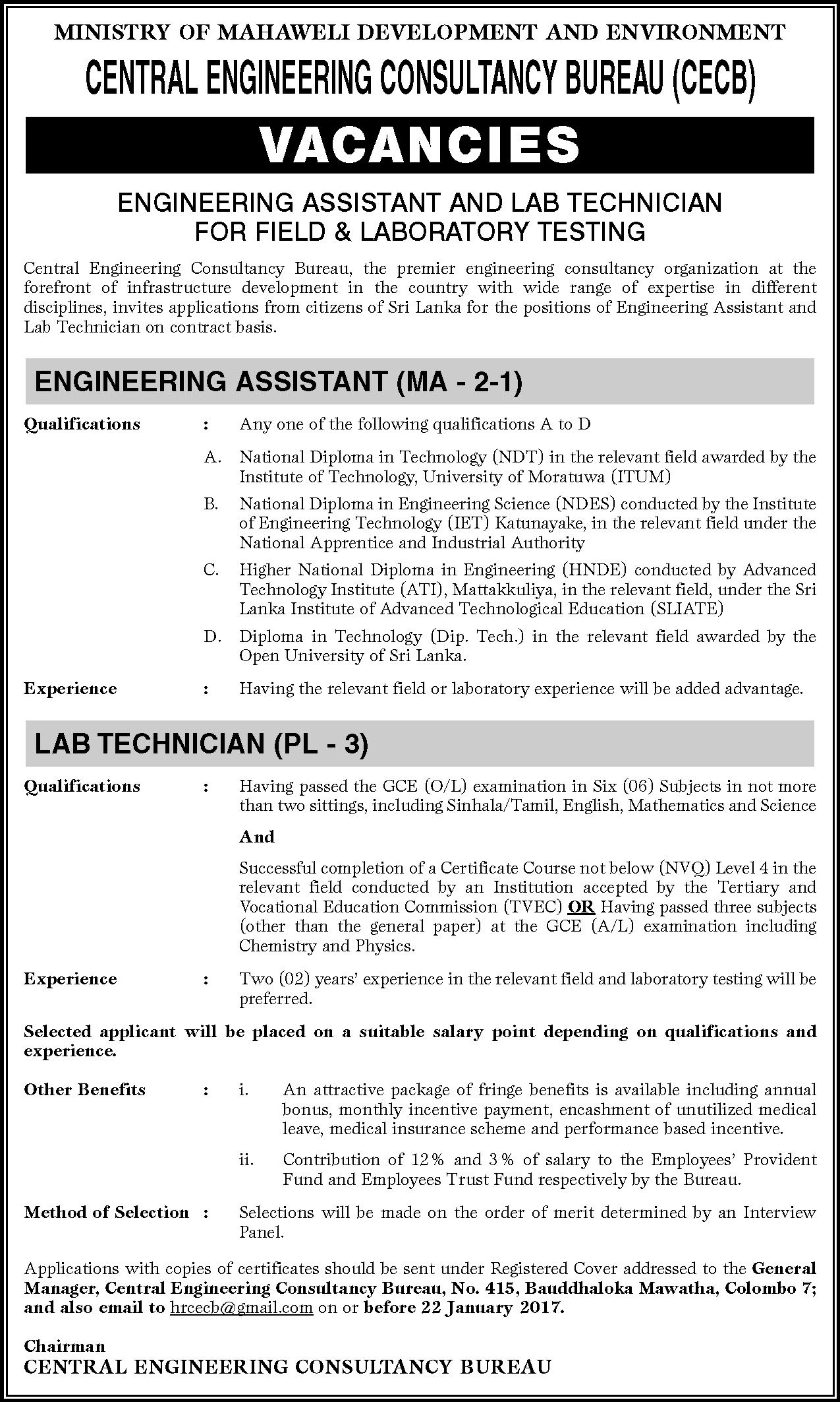 Lab Technician Engineering Assistant At Central Engineering