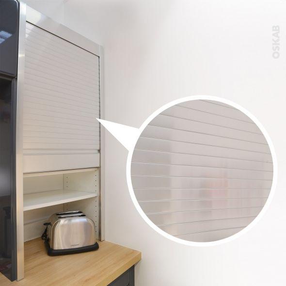 Meuble rideau cuisine petit déjeuner coulissant Volet aluminium, L60 x H121 x P37 cm, SOKLEO ...