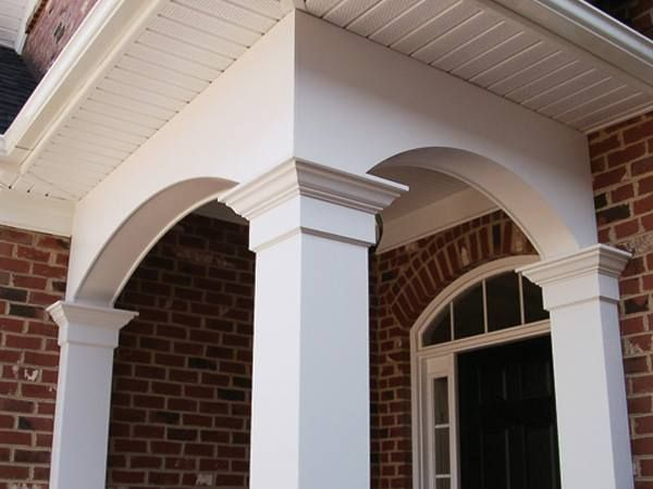 The use of a non-tapered Craftsman Column with a built up capital is accented by a pair of matching half columns usually referred to as pilasters. These Craftsman style columns are mode of Cellular PVC.   http://arndtandherman.com/Products/Craftsman-Columns  #nontaperedcolumns #exteriorcolumns #columns