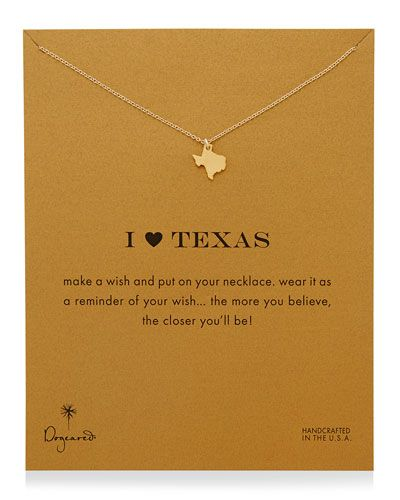 Dogeared I Heart Texas Pendant Necklace. 14-karat yellow gold vermeil necklace. $58 at NeimanMarcus
