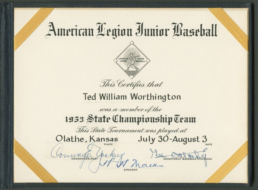 Certificate received by Ted Worthington as a member of the state championship American Legion team, 1953. His team, the Topeka Mosby-Macks, defeated Olathe, 11-4, in the state title game played in Olathe on August 3. (SCBHOF/KHS; courtesy of Ted Worthington)