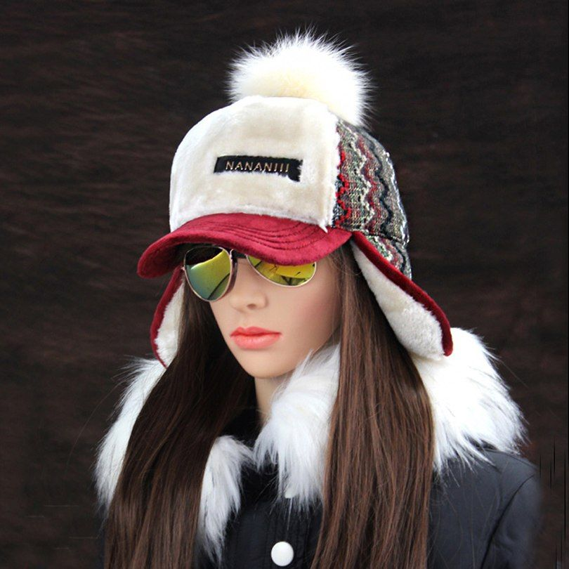 Winter Faux Cashmere Bomber Hat Women Earflap Caps Faux Fur Pompom Snow  Hats Adjustable Bohemian Russian Ushanka 774c6792550
