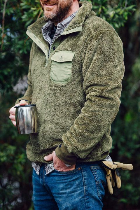 Kodiak Fleece Pullover - Birchwood Green | Man style