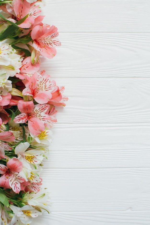 Lindas Flores No Fundo Branco De Madeira