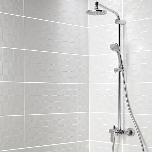 Carrelage mural décor Relief cube ARTENS en faïence, blanc mat, 25 x - photo faience salle de bain