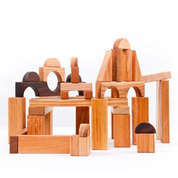Natural Hardwood Wooden Blocks Set And Storage Box