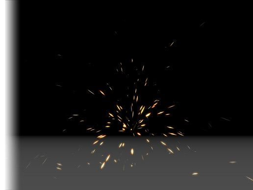 A sparks particle effect, with the sparks colliding and bouncing off
