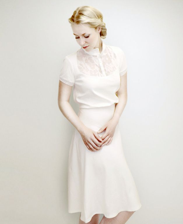 Knielange Kleider - M.I.R.A cream jersey dress - ein ...