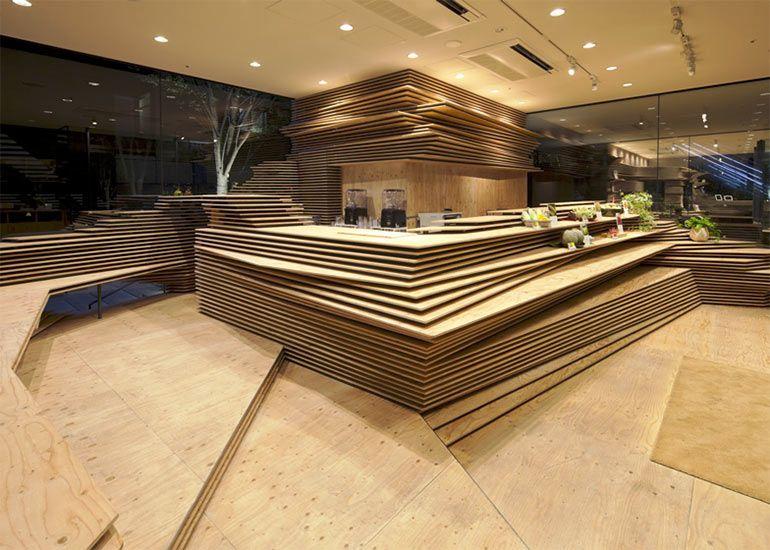 shop raumdesign mit einer topographie aus holzplatten von kengo kuma shopdesign. Black Bedroom Furniture Sets. Home Design Ideas