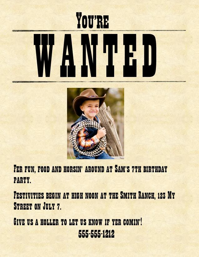 Make your own wanted poster party invitations western cowboy wanted poster party invitations stopboris Images