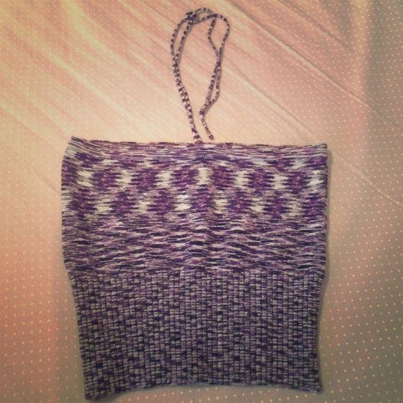 BUFFALO stretch purple halter/bandeau crop top In excellent condition. Worn once. You can tie strings as a halter top or just make a bow/hide string in bra to wear as a bandeau top. The colors are various purple tones with black, white or gray. Buffalo Tops Crop Tops
