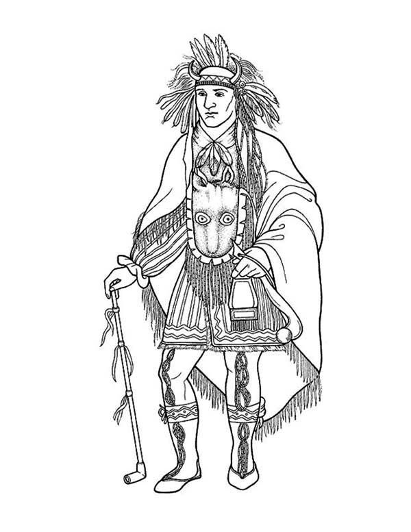 Native American Awesome Native American Chief Poster Coloring
