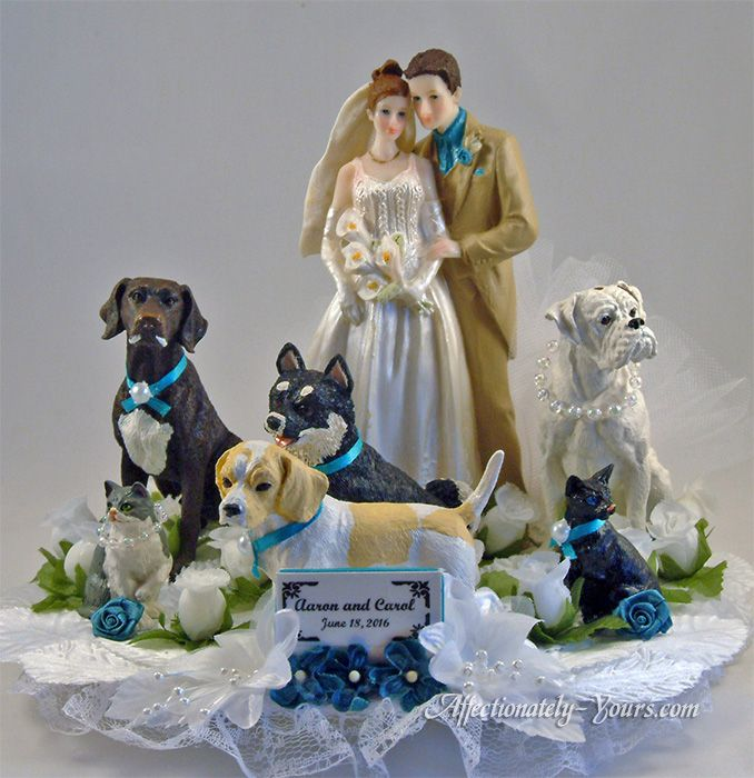 Customized dogs and cats with bride and groom wedding cake topper.  German shorthair pointer, lemon beagle, boxer, malamute mix breed, and 2 cats. Personalized medium / dark brown hair and customized attire on groom.  Shown in white with teal accents. Includes name and wedding date plate. http://www.affectionately-yours.com/yours-mine-and-ours-wedding-cake-topper/