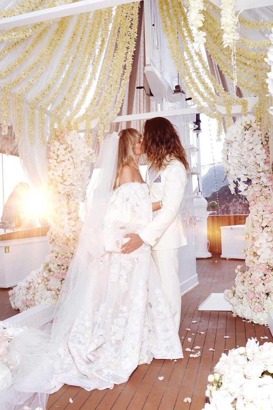 Heidi Klums Hochzeit Von Diesen Labels Stammten Ihre Brautkleider Brautkleider Romantisch Kleid Hochzeit Hochzeitskleider Vintage