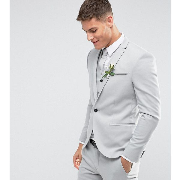 e6fec9a8a6da Noak Skinny Wedding Suit Jacket in Pale Grey ($150) ❤ liked on Polyvore  featuring