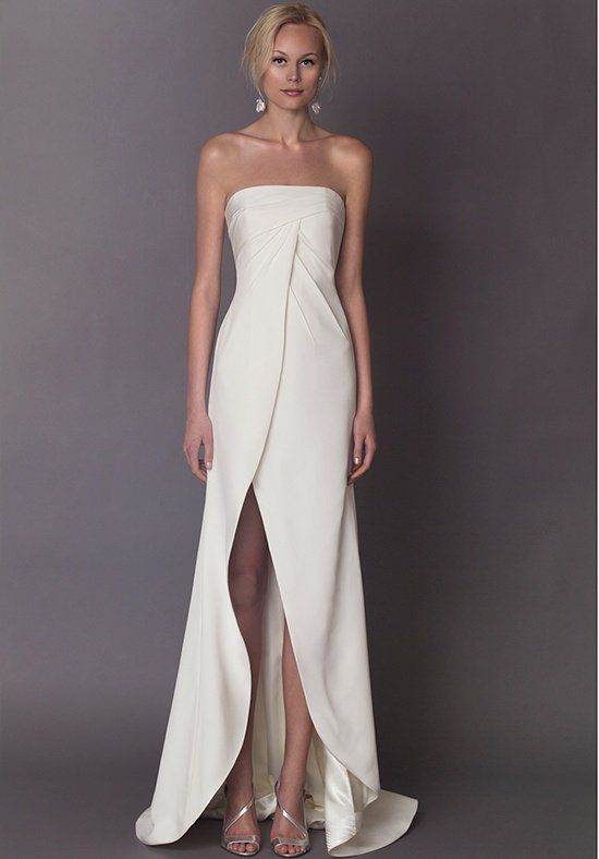 Strapless crepe sheath with draped bodice front and back, finished ...