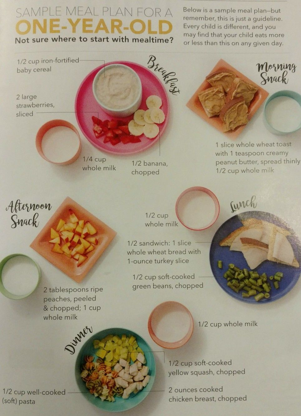Sample meal plan for a 1 year old Healthy toddler meals
