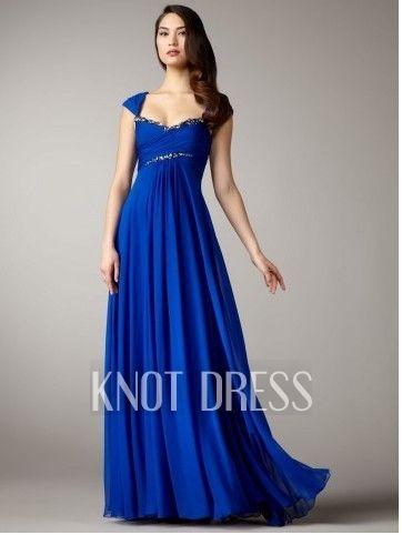 Royal Blue Column Capped Sleeves Beads Trim Ruched Bodice Empire Waist  Chiffon Floor Length Skirt Evening Dresses Graduation Dresses Formal Dresses  Prom ... 197013bd0c14