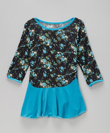 Look what I found on #zulily! Blue & Black Floral Tunic - Toddler & Girls by ColorPop #zulilyfinds