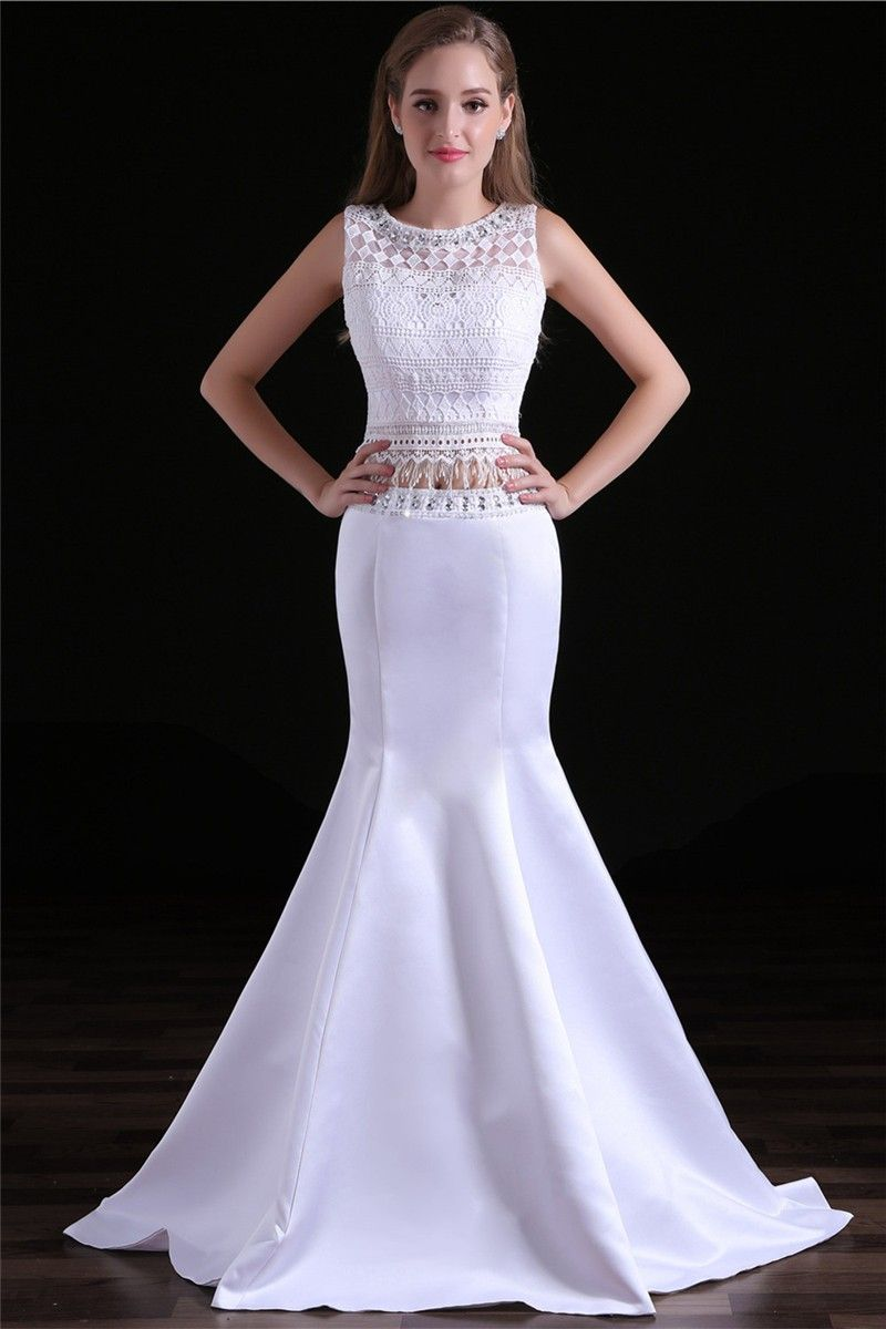 Charming mermaid white satin lace two piece occasion prom