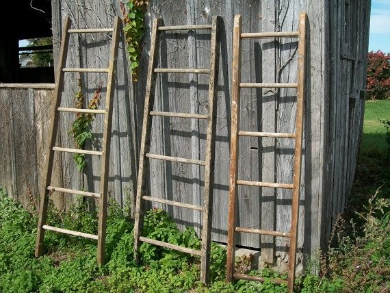 Antique Wood Ladder With 6 Rungs 72 Long Choose By Arusticgarden 59 95 Wood Ladder How To Antique Wood Antique Ladder