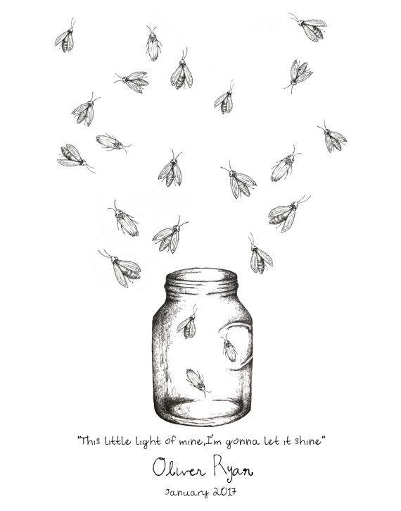 Mason Jar With Fireflies Fingerprint Print Wall Art Birthday Baby