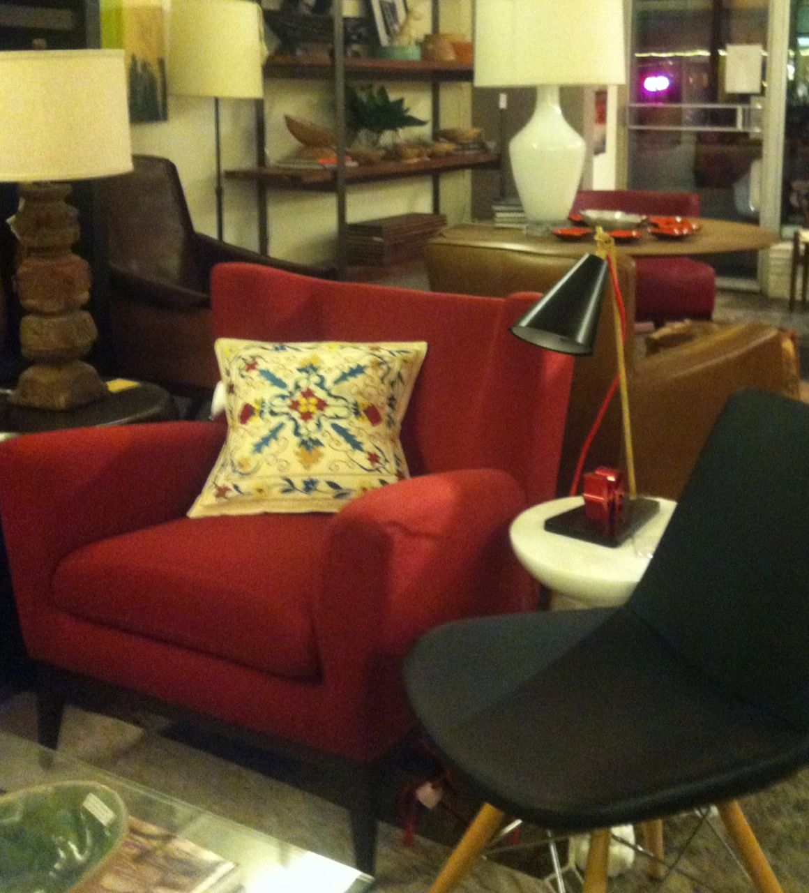 Magnificent American Leather Cole Chair In Red Wool Fabric And Arteriors Gamerscity Chair Design For Home Gamerscityorg