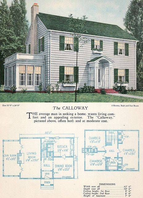 1928 Home Builders Catalog The Calloway Sims House Plans American Houses Vintage House Plans