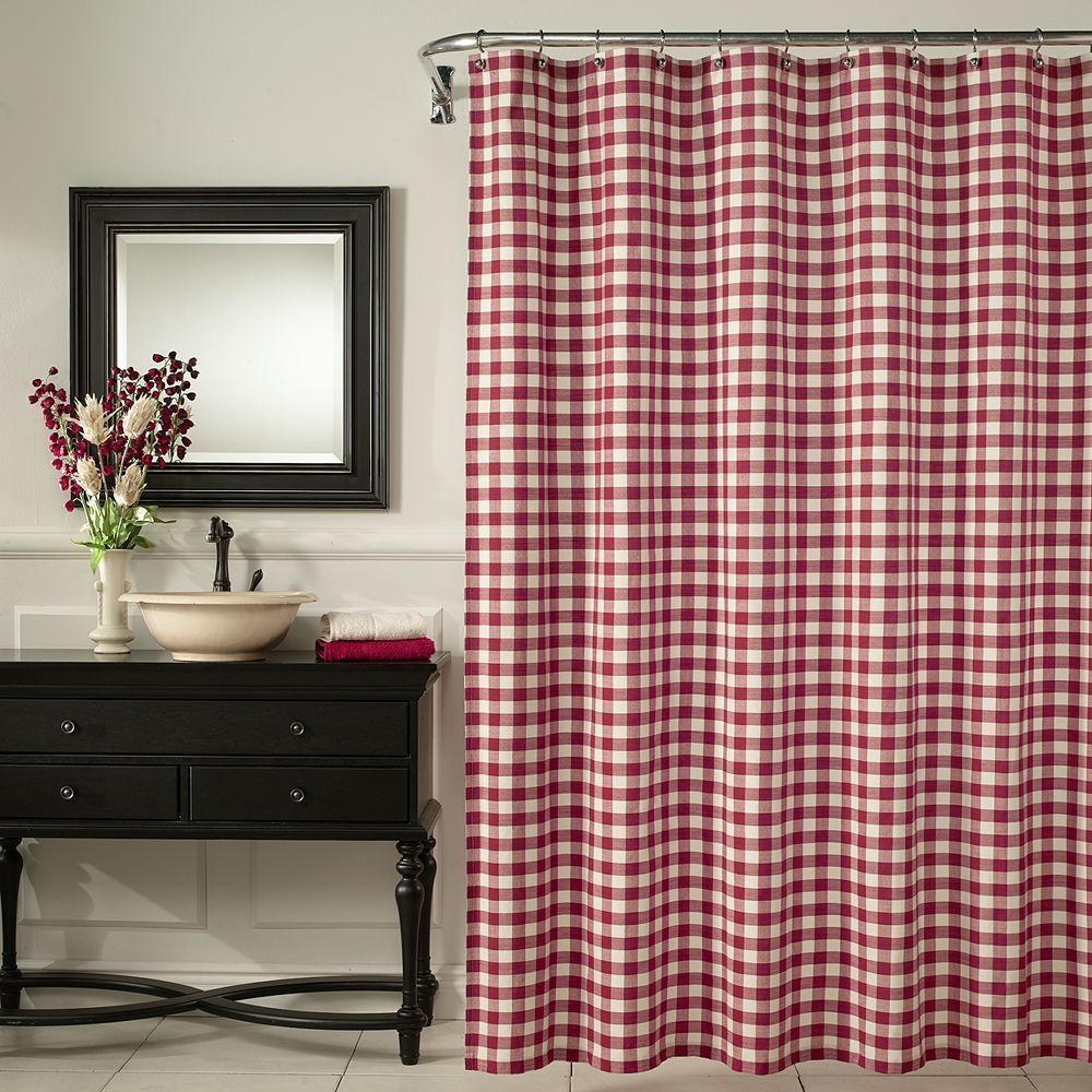 m.style Checkered Fabric Shower Curtain, Red