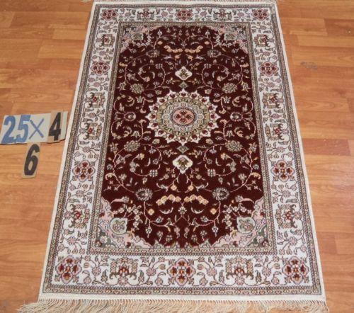 "2'6""x4' Hand-knotted 200 kpsi Burgundy Silk Oriental Persian Tabriz Rug 731"