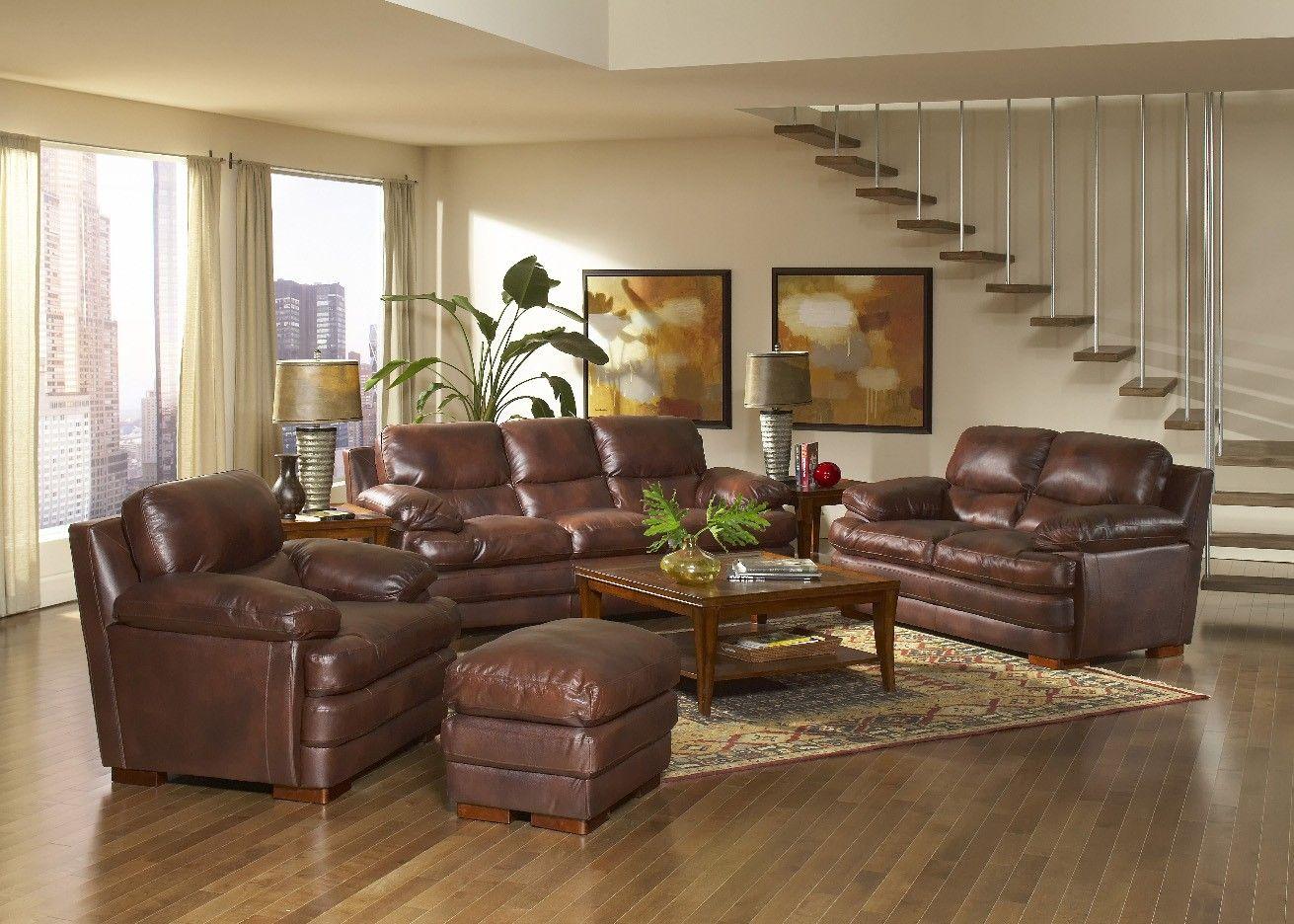 Leather Italia Baron Brown Living Room