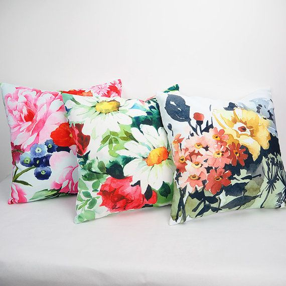 Floral Pillow Cover Decorative Throw Flower Cushion 18x18inch Floral Pillow Cover Floral Cushion Covers Floral Pillows