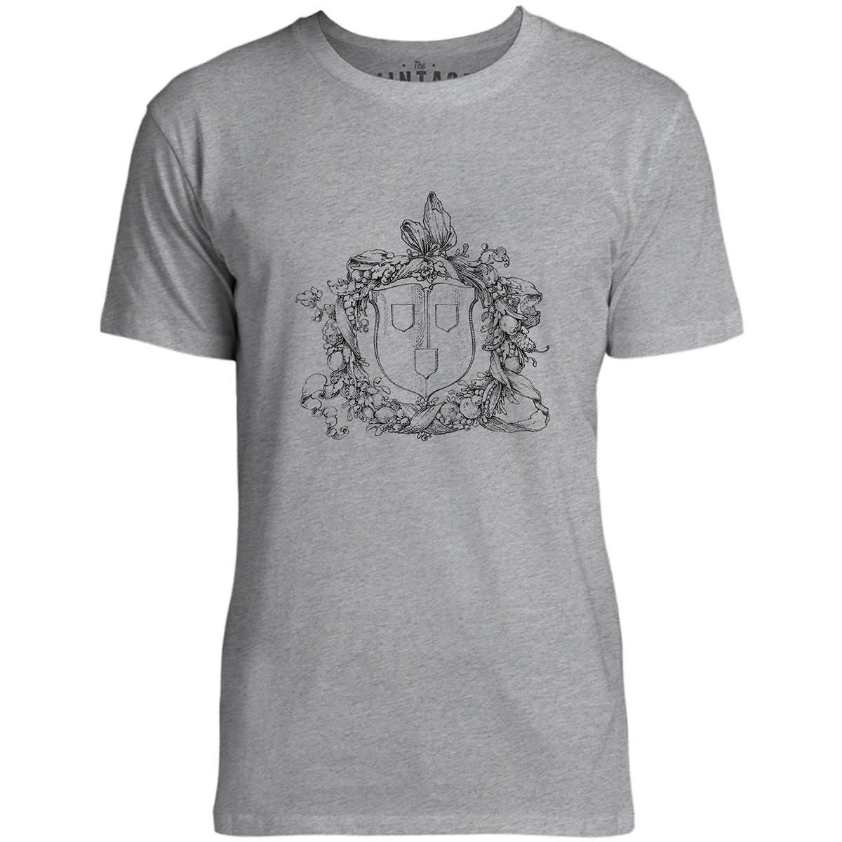 Mintage Shield and Wreath Mens Fine Jersey T-Shirt (Grey Marle)