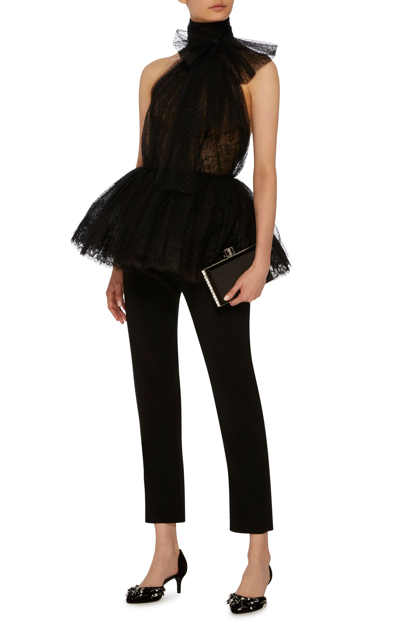 f851ec47263c Tulle And Lace Peplum Top by ELIE SAAB Now Available on Moda Operandi