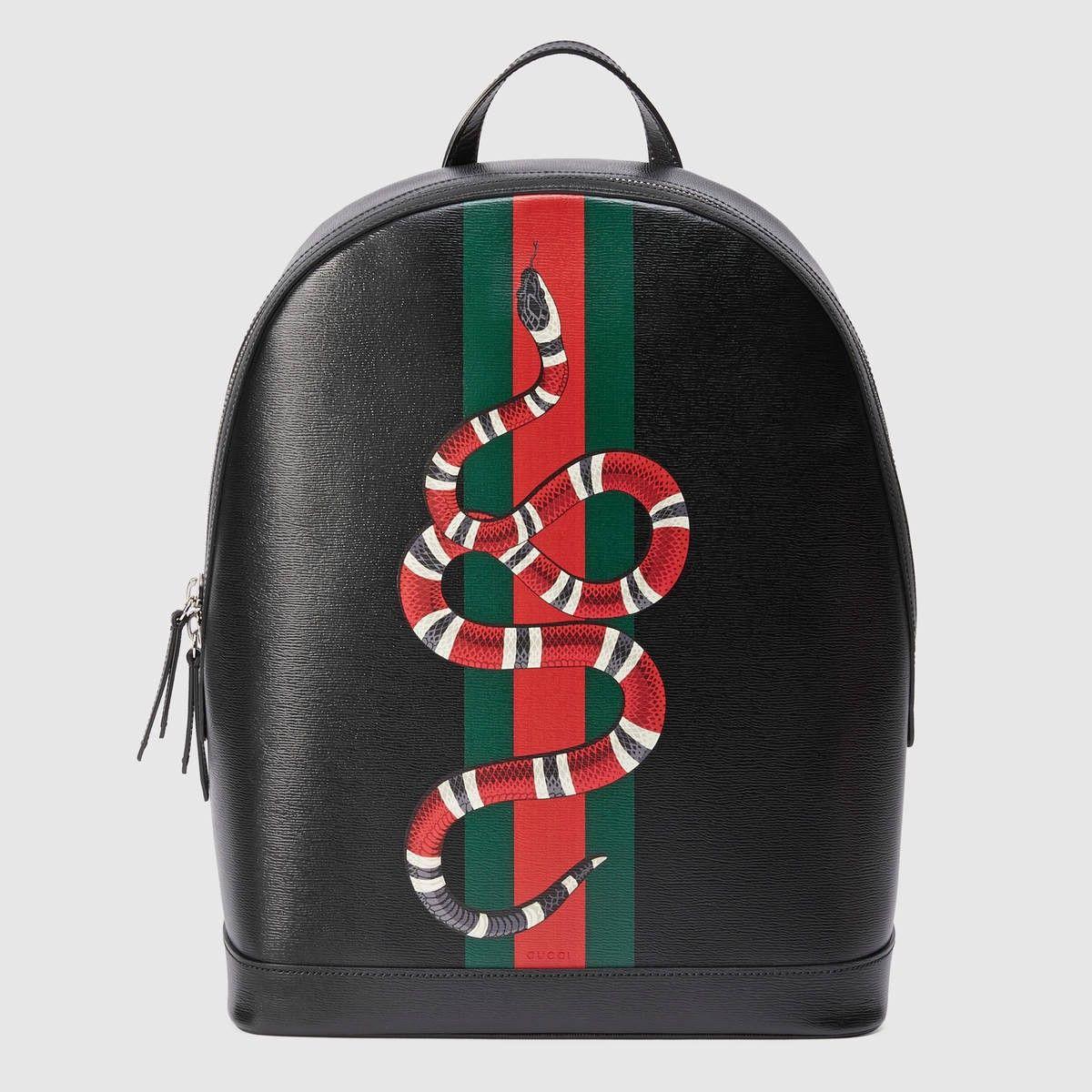 7ea80badb GUCCI Web and Kingsnake print leather backpack - black leather. #gucci #bags  #lining #nylon #backpacks #suede #