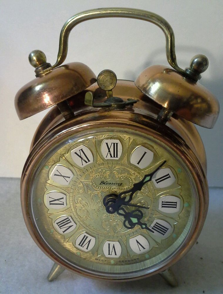 Vintage BLESSING Double Bell Alarm Clock 1960's Brass West