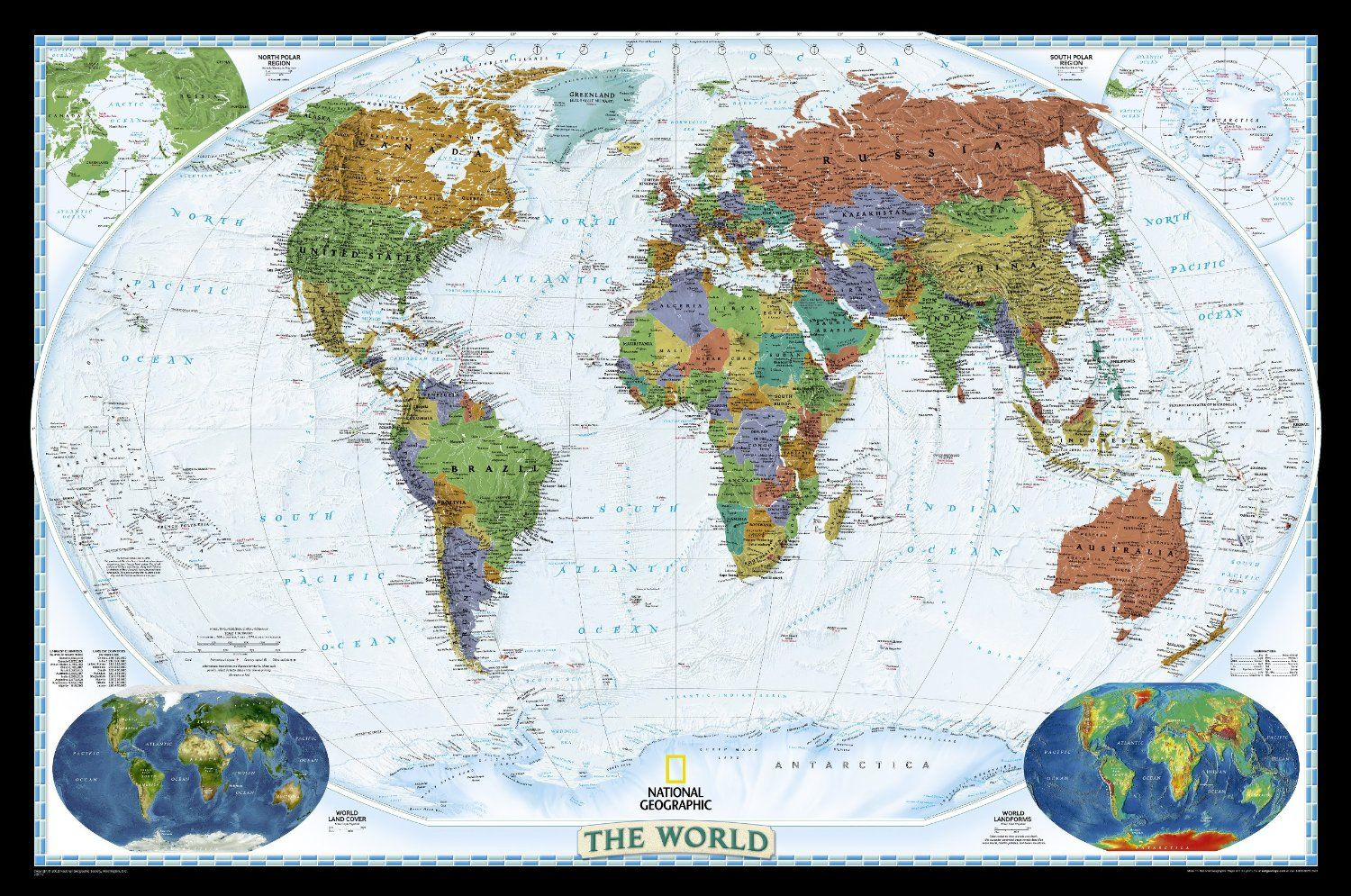 World Decorator Wall Map Laminated Reference World National - Us map framed