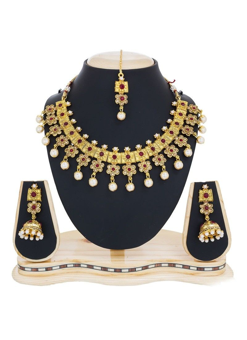 Stone work necklace set in gold necklace set pinterest stone work